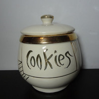 Vintage Ceramic Creamy White Cookie Jar with Gold Lettering and Trim