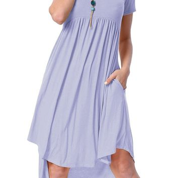 Short Sleeve High Low Pleated Dress