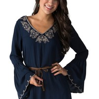 Double Zero Women's Navy with Tan Embroidery with Leather Belt and Long Bell Sleeves Dress