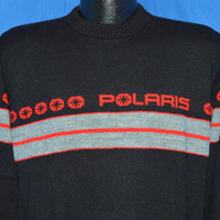 80s Polaris Snowmobile Ski Black Red Striped Sweater Medium