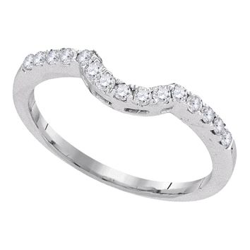 14kt White Gold Womens Round Diamond Curved Wedding Band Ring 1/4 Cttw