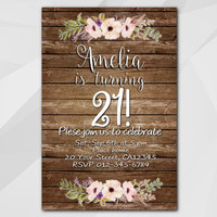 21st Birthday invitation, Watercolor Wood Invitation, 13th 18th 21st 30th 40th 50th, Custom Birthday Party invitation XA022w