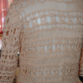 Cardigan Sweater Crochet Broomstick Lace in Pale Tan Cotton Size Small/Medium