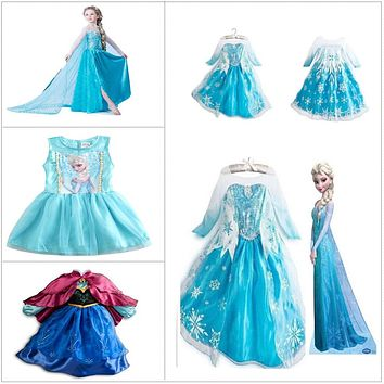 2017 New Fashion Custom Anna Elsa Girls Dresses Children Dress Kids Party Vestidos Baby Cinderella Cosplay Dress Pincess Dresses