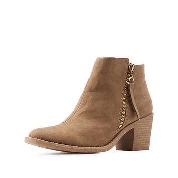 Qupid Side Zip Ankle Booties