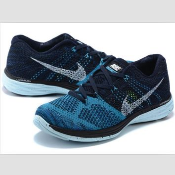 NIKE woven casual shoes light running shoes Blue and black white