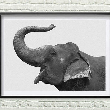 Elephant Print, African Safari Decor, Kids Gift, Nursery Wall Art, Printable Art, Elephant Trunk Up, Instant Download *48*