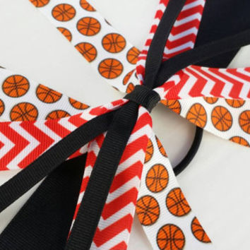 Red and black basketball hair streamers, team bows, chevron ponytail holder ribbon, red basketball ribbon hair tie, school team sports, ball