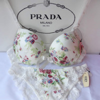 Floral Embroidery  Adjustable Bra Underwear Sets 11464