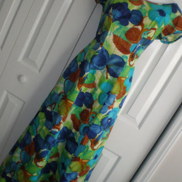 Hawaiian dress Hawaiian muumuu acrylic barkcloth vibrant colors Kiyomi of Hawaii medium large