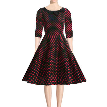 OWIN Vestidos Womens Vintage 1950s Style 3/4 Sleeve Dot Swing Party Dress Clothing