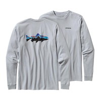 Patagonia Men's Long-Sleeved Fitz Roy Trout Cotton T-Shirt | Pebble Grey