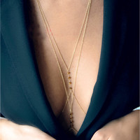New Gold Silver Beach Bikini Alloy Beaded Crossover Beyonce Body Chain Necklace Jewelry