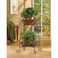 Graceful Wire Basket Plant Stand