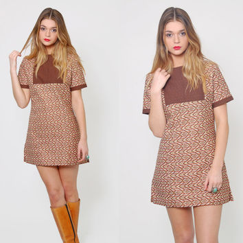 Vintage 60s Micro Mini Dress Mocha SOUTHWESTERN Scooter Dress MOD Dress