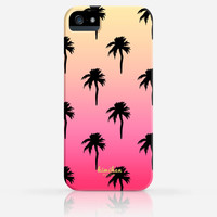 Palm Tree Pattern Summer Gradient Color iPhone 4 Case, iPhone 4s Case, iPhone 5 Case, iPhone 5s Case, iPhone Hard Plastic Case