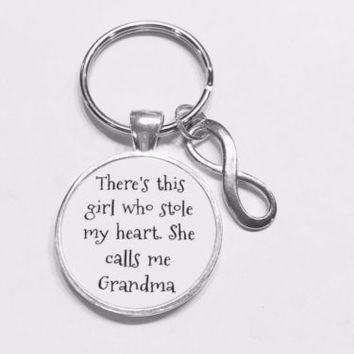 Grandma There's This Girl Who Stole My Heart Gift Grandmother Keychain