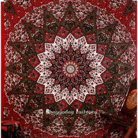 Shop Online Maroon and Green Boho Mandala Cotton Tapestry Beach Rug