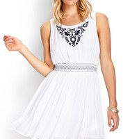 FOREVER 21 Whimsical Embroidered Dress Ivory/Navy