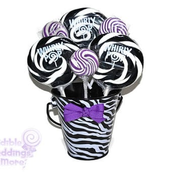 Small Zebra and Purple Lollipop Centerpiece, Sweet Sixteen Centerpiece, Bridal Shower Centerpiece, Zebra , Baby Shower Centerpiece