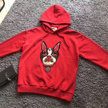 Gucci Fashion Dog Embroidered Sweater Hoodie