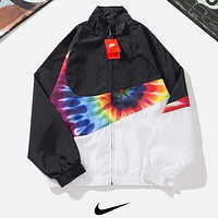 NIKE Fashion New Multicolor Hook Print Splice Women Men Long Sleeve Coat