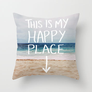 My Happy Place (Beach) Throw Pillow by Leah Flores
