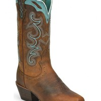 Justin Silver Blue Embroidered Cowgirl Boots - Square Toe - Sheplers