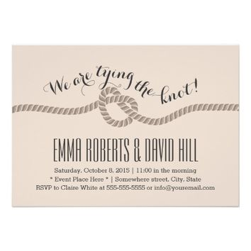 Classy Tan Tying the Knot Wedding Invitations