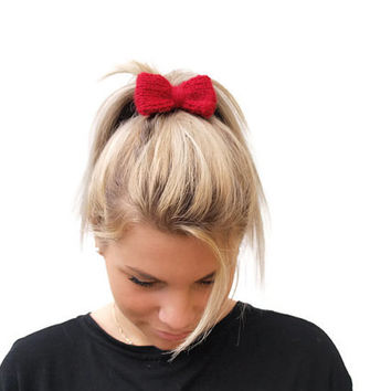 Hand Knit Hair Bow, Red Mini Bow, handmade hair bow, knit hair bows, hair accessories, more colors.