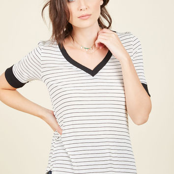 Characteristically Chill Striped Top | Mod Retro Vintage Short Sleeve Shirts | ModCloth.com