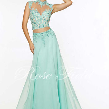 Floor-length 2015 Sale Chiffon Appliques Beach Halter Mermaid Dress Hot Sales And Applique Elegant Two Piece Prom Dresses