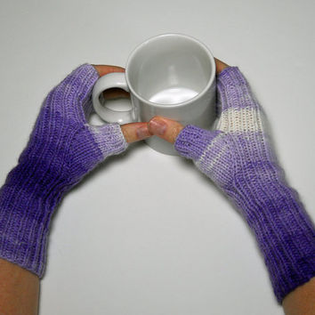 Hand Knit Purple Mismatched Texting Gloves, Ombre Fingerless Mitts, Winter Handwarmers, Valentines Day Gift, Mothers Day Gift, Gift for Her