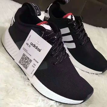 Adidas NMD R2 PK Boost Running sports shoes black white H-A-GHSY-1