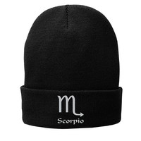 Scorpio Zodiac Sign Embroidered Beanie Fleece-Lined Knit Cap