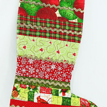 Quilted Christmas Stocking, Patchwork Stocking Fireplace, Striped Christmas Stocking, Festive Stocking, Christmas Decor For Sale