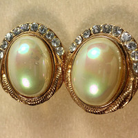 Pearl and Rhinestone Oval Clip Earrings Gold Tone Vintage - Faux Pearl Clip Earrings