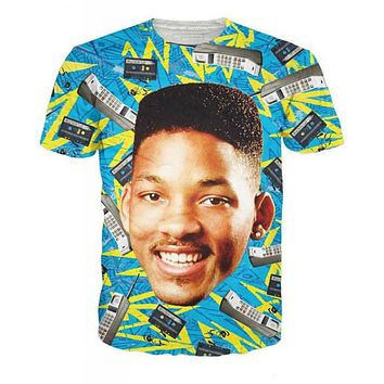 Fresh Prince Will Smith The Fresh Prince of Bel-Air All-Over Print Sublimated Turquoise T-Shirt