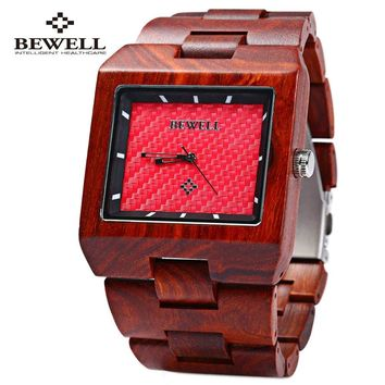 Bewell Wooden Men Watches Brand Luxury Square Clock Male Quartz Sports Watch New