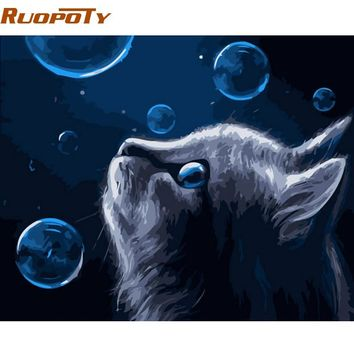 RUOPOTY Frame Cat DIY Painting By Numbers Animals Calligraphy Painting Modern Wall Art Canvas For Home Decors Artwork 40x50