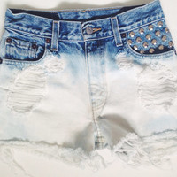 High Waisted Ombré Denim Shorts