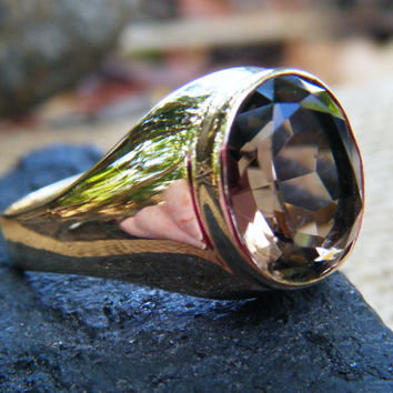 Large smoky quartz statement ring in gold, perfect gents ring or plus size ladies ring, size 12
