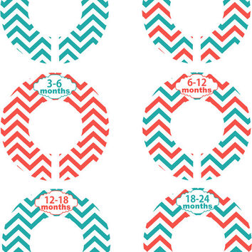 Custom Baby Closet Dividers Teal Coral Chevron Nursery Closet Dividers Organizer Baby Shower Gift Baby Clothes Organizers Baby Nursery
