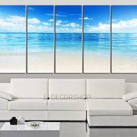 Large Wall Art Blue Sea Landscape and Beach Wall Art Canvas 5 Piece - Large Ocean View Canvas Painting - MC119