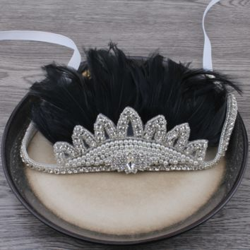 Boho Rhinestone Crystal Feather Headdress - Black