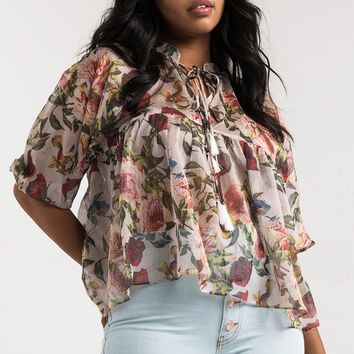 AKIRA Sheer Floaty Floral Bird Print Tie Up Short Sleeve Empire Line Top in Floral