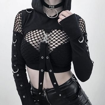 Gothic Punk Black Mini Sweatshirt Pullover Front Cut Out Lace up Hooded Punk Style Hoodies Long Sleeve Gothic Girls Tops Hoody