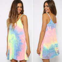 Loose Rainbow Tie Dye Mini Dress