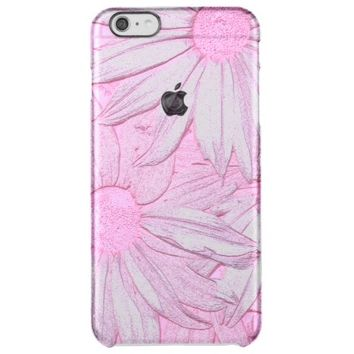 Pretty Pink Flower Design Clear iPhone 6 Plus Case