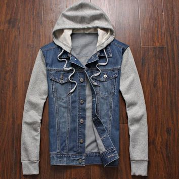 Trendy Denim Jacket men hooded sportswear Outdoors Casual fashion Jeans Jackets Hoodies Cowboy Mens Jacket and Coat Plus Size 4XL 5XL AT_94_13